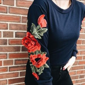 Floral Embroidered Cropped Sweater Boutique